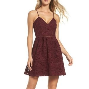 NWOT BB Dakota Sutton Burgundy Lace Dress